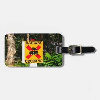 Railway crossing sign luggage tag