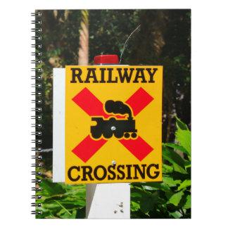Railway crossing sign notebook