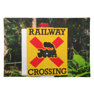 Railway crossing sign placemat