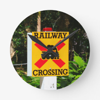 Railway crossing sign round clock