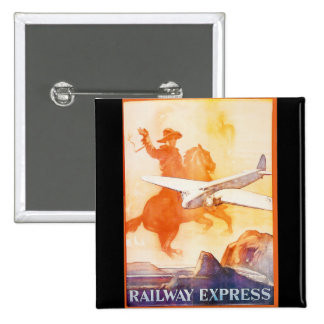 Railway Express Agency 1935 Advertisement 2 Inch Square Button