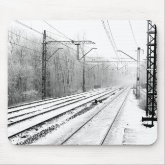 railway in winter mouse pad