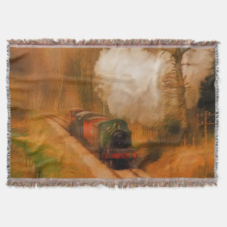 Railway Steam Train for Trainspotters Art Rug III Throw Blanket