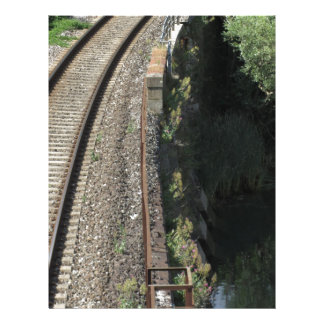 Railway tracks along the river Serchio near Lucca Letterhead Template