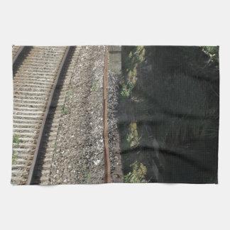 Railway tracks along the river Serchio near Lucca Towel