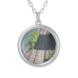 Railway tracks along the river silver plated necklace