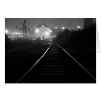 Railway Tracks at Night - Old Cwmbran 1977 Card