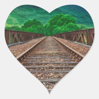 Railway Tracks Heart Sticker