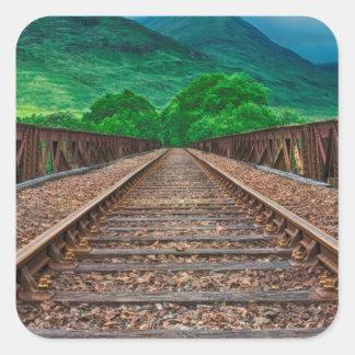 Railway Tracks Square Sticker