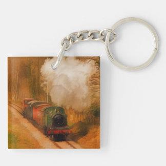 Railway Train Spotters Steam Engine & Smoke Keychain