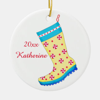Rain Boot Shoe Lover Christmas Stocking Name Round Ceramic Ornament
