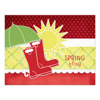 Rain Boots Spring Invitations