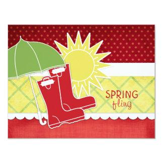 "Rain Boots Spring Invitations 4.25"" X 5.5"" Invitation Card"