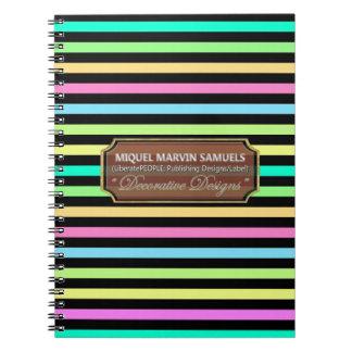 Rain Bow Stripes Night Decorated Modern Notebook