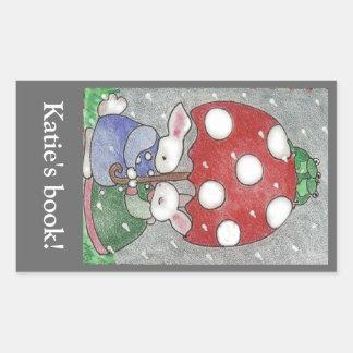 Rain Bunnies bookplate Sticker