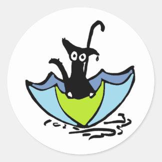 Rain Cat - Sitting in an Umbrella Classic Round Sticker