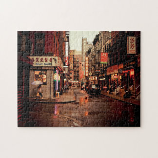 Rain - Chinatown - New York City Jigsaw Puzzle
