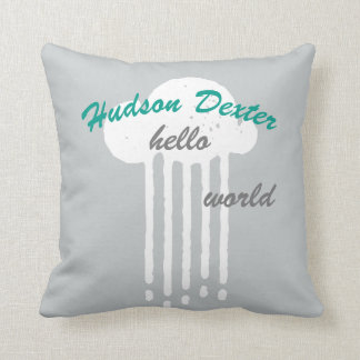 Rain Cloud Hello World Any Custom Color Pillow