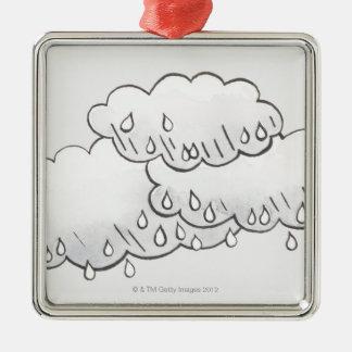 Rain Clouds Metal Ornament