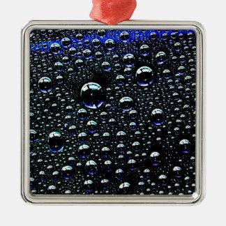 Rain Drop Silver-Colored Square Ornament