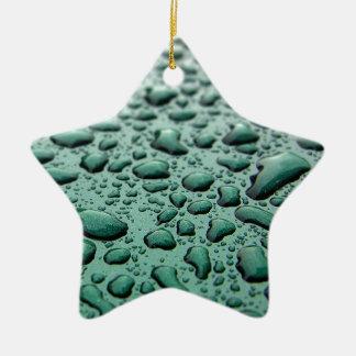 Rain Drops Ceramic Star Ornament