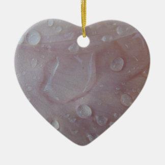 Rain Drops On An Iris Petal Ceramic Heart Ornament