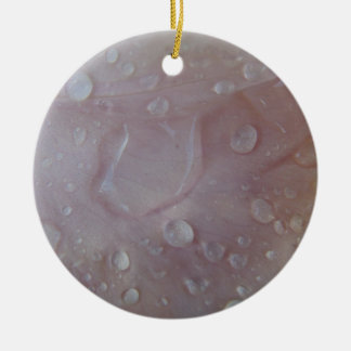 Rain Drops On An Iris Petal Ceramic Ornament