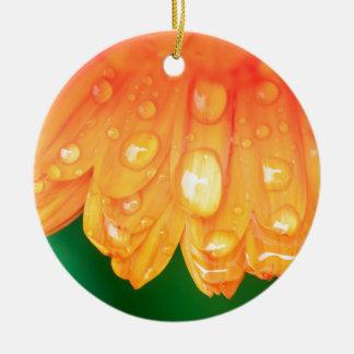 Rain drops on petals round ceramic ornament