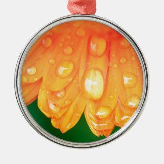 Rain drops on petals Silver-Colored round ornament