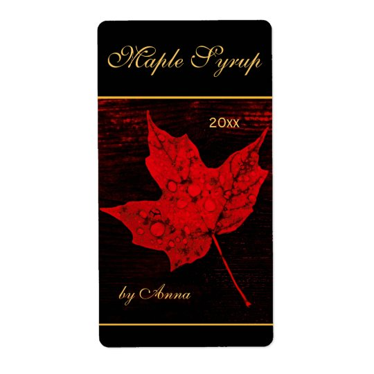 Rain drops on red maple leaf shipping label