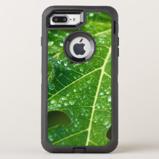 Rain Drops on Tropical Green Papaya Leaf OtterBox Defender iPhone 8 Plus/7 Plus Case