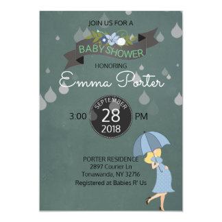 Rain Drops Shower Umbrella Baby Shower Card