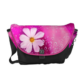 Rain Drops with cosmos flowers Bag Courier Bag