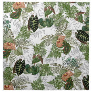 Rain Forest Ferns Leaves Flowers Cloth Napkins