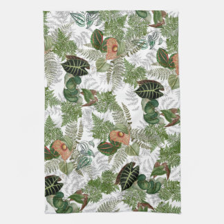 Rain Forest Ferns Leaves Flowers Kitchen Towel