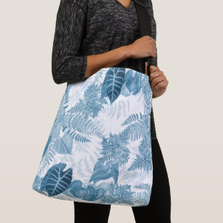 Rain Forest Ferns Leaves Flowers Shoulder Tote Bag