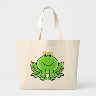 Rain forest Green Frog Large Tote Bag