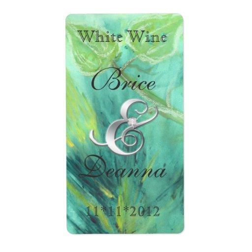 Rain Forest Haze Silver Wedding Wine Label