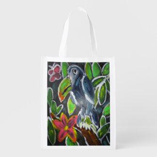 Rain  Forest  Toucan art Reusable Grocery Bag