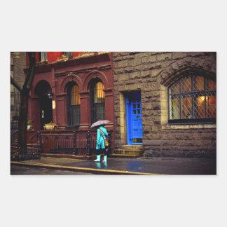 Rain - Greenwich Village - New York City Rectangle Sticker