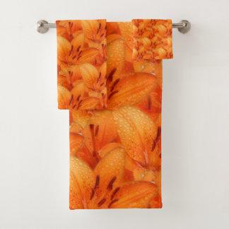 Rain-Kissed Orange Asiatic Tiger Lilies Bath Towel Set