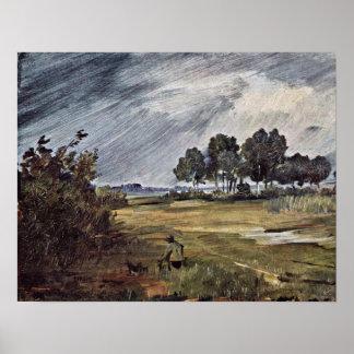 Rain Landscape by Wilhelm Busch Poster