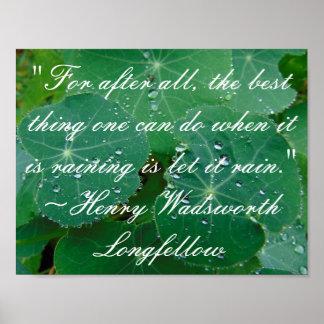 Rain Longfellow Quote Poster