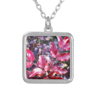Rain on leaflets silver plated necklace