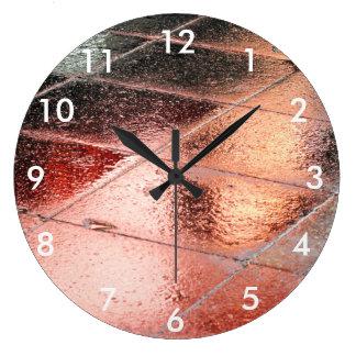 rain reflection large clock
