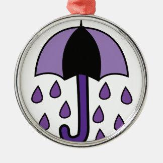Rain Umbrella Silver-Colored Round Ornament