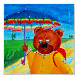 Rain Walk   Bear & Little Mousie   Best Friends Poster