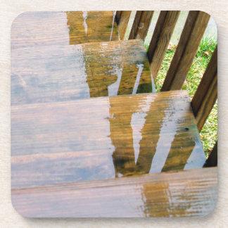 Rain Water on Wooden Stair Steps Coasters
