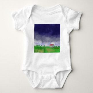 Rain with Barn Art Baby Bodysuit