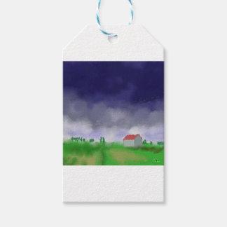 Rain with Barn Art Gift Tags